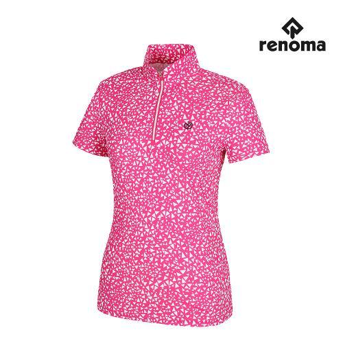 [레노마골프]여성 삼각 패턴 반집업 반팔 티셔츠 RWTHH6118-403_G