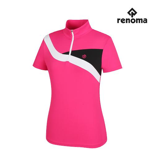 [레노마골프]여성 배색 절개 반집업 반팔 티셔츠 RWTHH6117-403_G