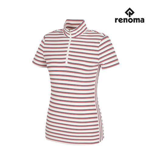 [레노마골프]여성 캐주얼 스트라이프 반집업 반팔 티셔츠 RWTHH6109-500_G