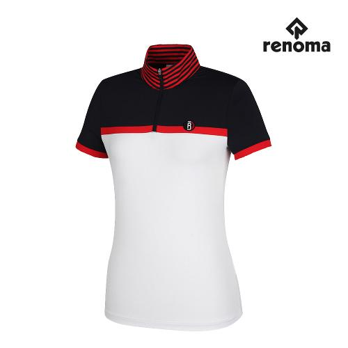 [레노마골프]여성 캐주얼 배색 반집업 반팔 티셔츠 RWTHH6107-100_G
