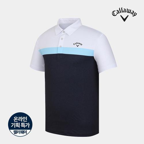 [캘러웨이]기획 남성 컬러 블록 배색 카라 반팔 티셔츠 CMTYJ2673-925_G