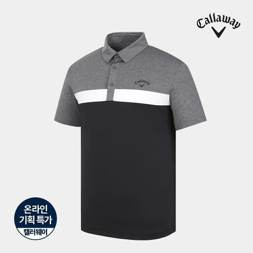 [캘러웨이]기획 남성 컬러 블럭 카라 반팔 티셔츠 CMTYJ2668-199_G