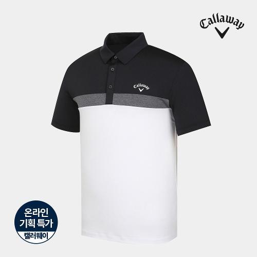 [캘러웨이]기획 남성 컬러 블럭 카라 반팔 티셔츠 CMTYJ2668-100_G