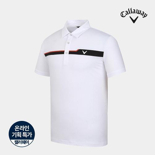 [캘러웨이]기획 남성 가슴 배색 카라 반팔 티셔츠 CMTYJ2662-100_G