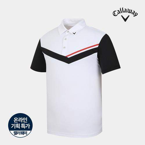 [캘러웨이]기획 남성 메쉬 배색 카라 반팔 티셔츠 CMTYJ2754-100_G