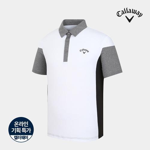 [캘러웨이]기획 남성 배색 카라 반팔 티셔츠 CMTYJ2753-100_G