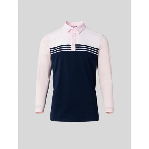 [빈폴골프] 남성 핑크 블록 스트라이프 칼라 티셔츠 (BJ1441B12X)