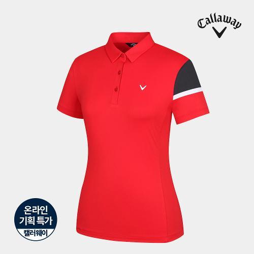 [캘러웨이]기획 여성 소매 배색 카라 반팔 티셔츠 CWTYJ6664-500_G