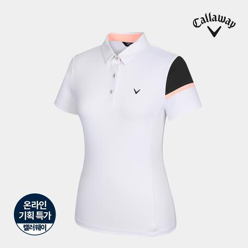 [캘러웨이]기획 여성 소매 배색 카라 반팔 티셔츠 CWTYJ6664-100_G