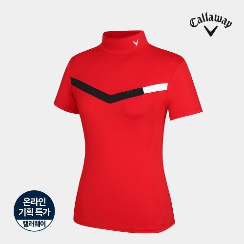 [캘러웨이]기획 여성 배색 하이넥 반팔 티셔츠 CWTHJ6663-500_G
