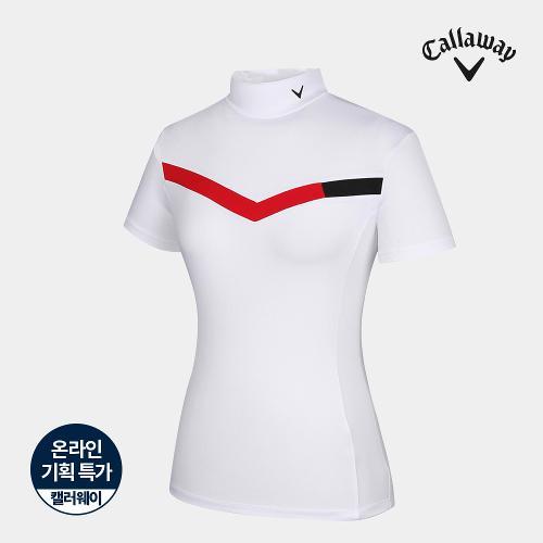 [캘러웨이]기획 여성 배색 하이넥 반팔 티셔츠 CWTHJ6663-100_G