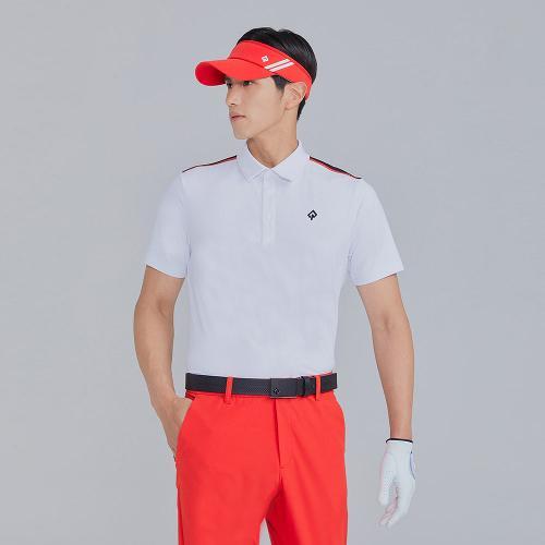 [레노마골프]21SS 남성 등판 절개 배색 카라 반팔 티셔츠 RMTYK2115-101_G