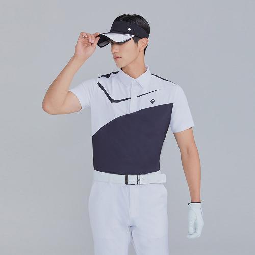 [레노마골프]21SS 남성 절개 배색 카라 반팔 티셔츠 RMTYK2114-199_G