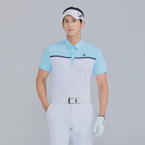 [레노마골프]21SS 남성 컬러 블록 카라 반팔 티셔츠 RMTYK2112-901_G