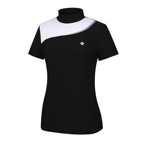 [레노마골프]21SS 여성 상단 컬러블럭 하이넥 반팔 티셔츠 RWTHK6103-199_G