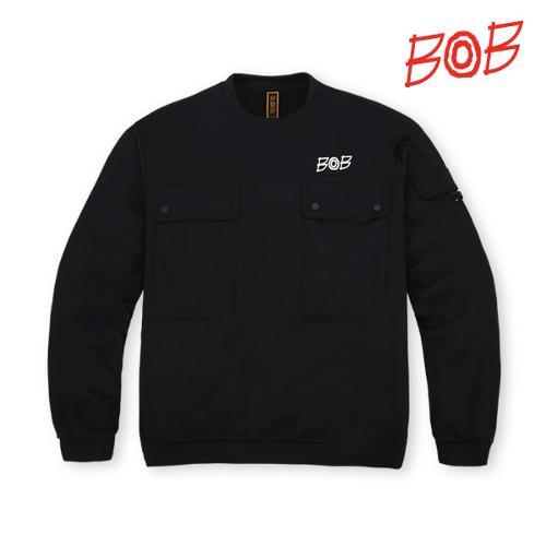BOB 남성 포켓 포인트 맨투맨 골프티셔츠 - GBS1TR410_BK