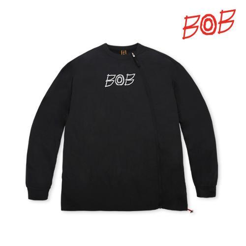 BOB 남성 라운드 풀오픈 긴팔 골프티셔츠 - GBS1TR010_BK