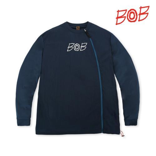BOB 남성 라운드 풀오픈 긴팔 골프티셔츠 - GBS1TR010_BL