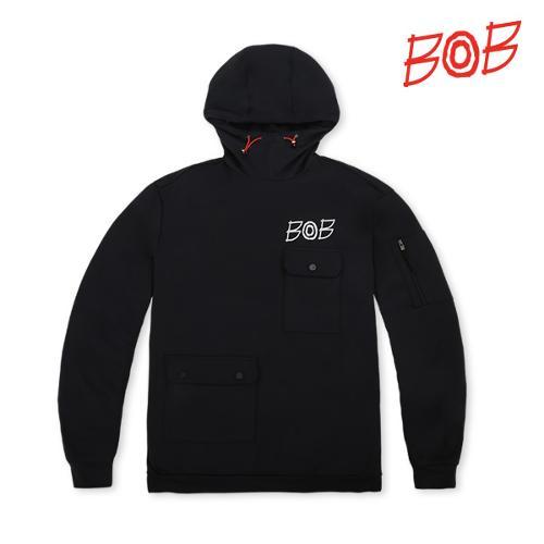 BOB 남성 오버핏 스트릿 패션 후드티셔츠 - GBS1TL010_BK