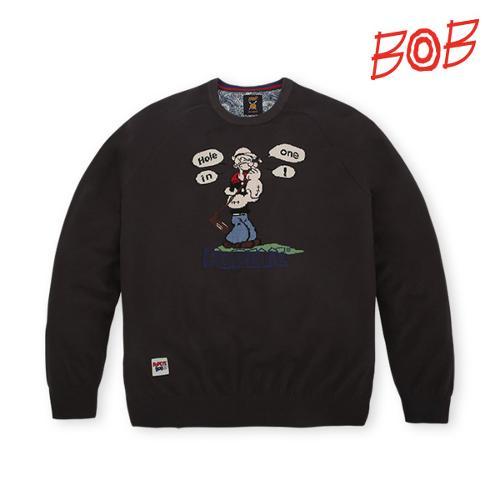 BOB 남성 뽀빠이캐릭터 라운드 긴팔니트 - GBS1SR020_DG