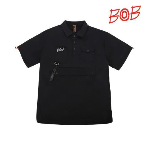 BOB 남성 포켓포인트 반팔 카라티셔츠 - GBM1TS090_BK