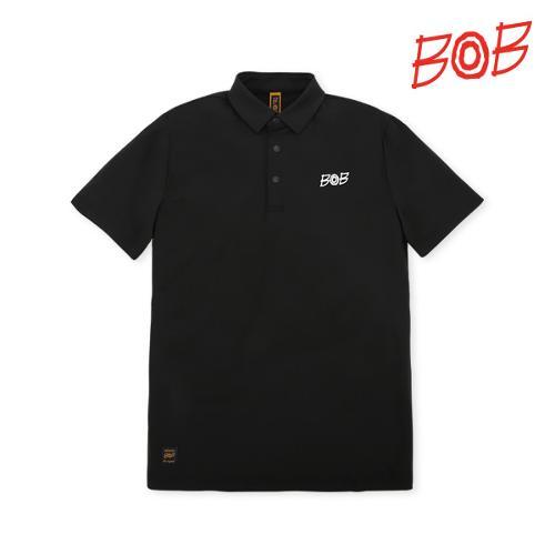 BOB 남성 로고스판 반팔 카라티셔츠 - GBM1TS040_BK