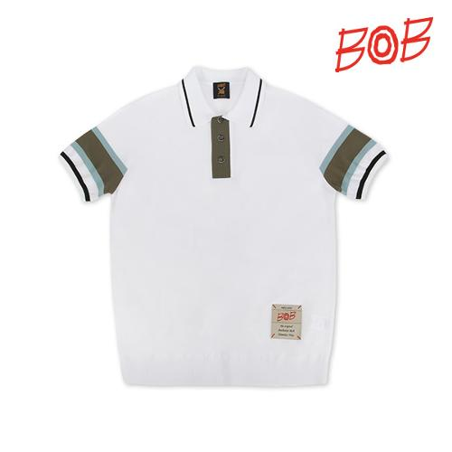 BOB 남성 배색 니트 반팔 카라 티셔츠 - GBM1SP010_WH