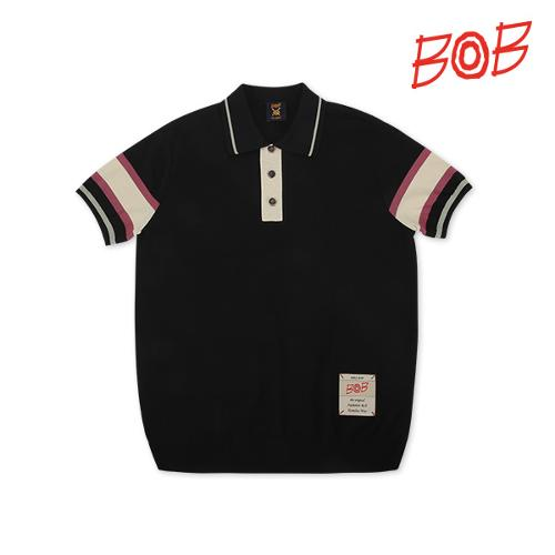 BOB 남성 배색 니트 반팔 카라 티셔츠 - GBM1SP010_BK