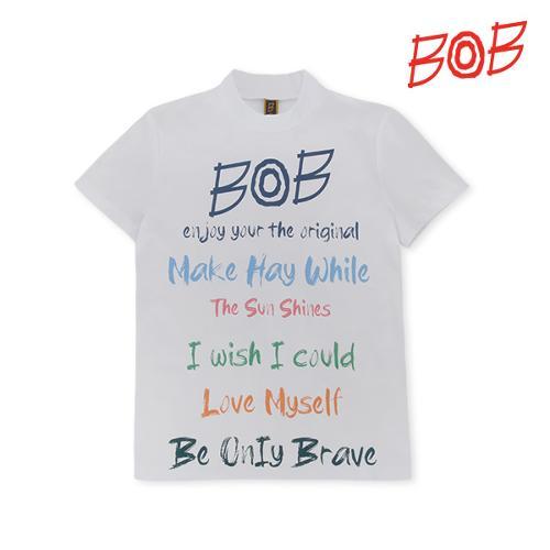 BOB 여성 프린트 하이넥 골프 반팔티셔츠 - GBM2TS530_WH