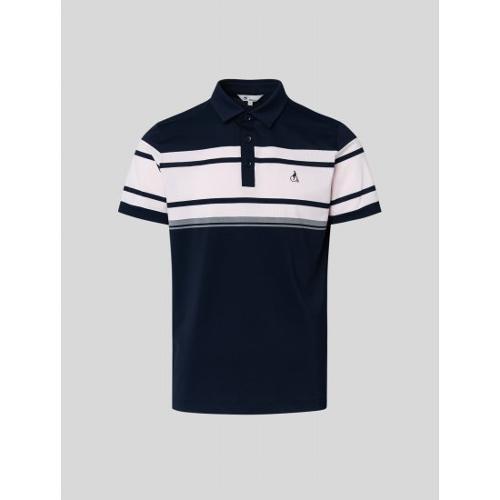 [빈폴골프] 남성 네이비 배색 컬러 블록 칼라 티셔츠 (BJ1442B76R)