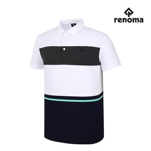 [레노마골프]남성 컬러 블록 카라 반팔 티셔츠 RMTYJ2136-100_G