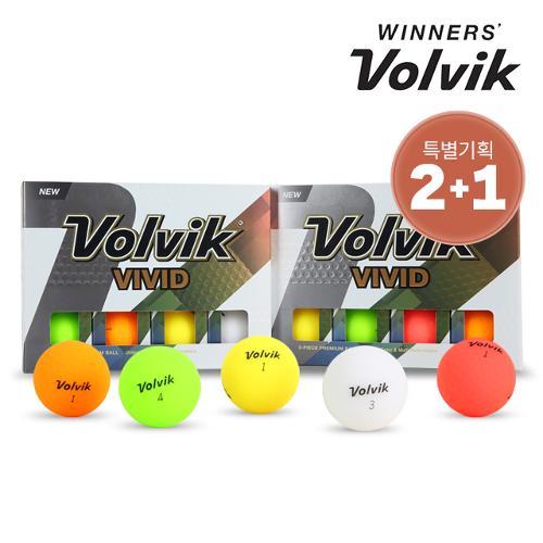 [골프선물세트 2+1] 볼빅 비비드 레인보우 무광 골프공 혼합 컬러_3피스