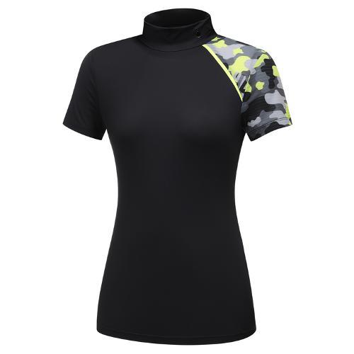 [와이드앵글] 여성 WG 캐모플라쥬 배색 하이넥 반팔 티셔츠 L WWM21261Z1
