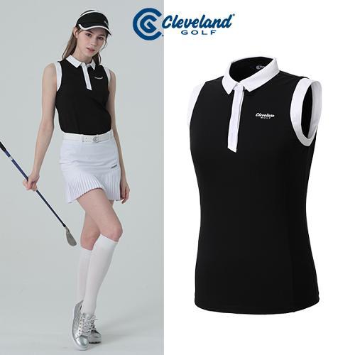 [클리브랜드골프] 암홀 넥라인 컬러배색 여성 3버튼 민소매 티셔츠/골프웨어_CGKWTS1084