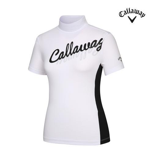 [캘러웨이]21SS 여성 필기체 로고 하이넥 반팔 티셔츠 CWTHK6256-100_G