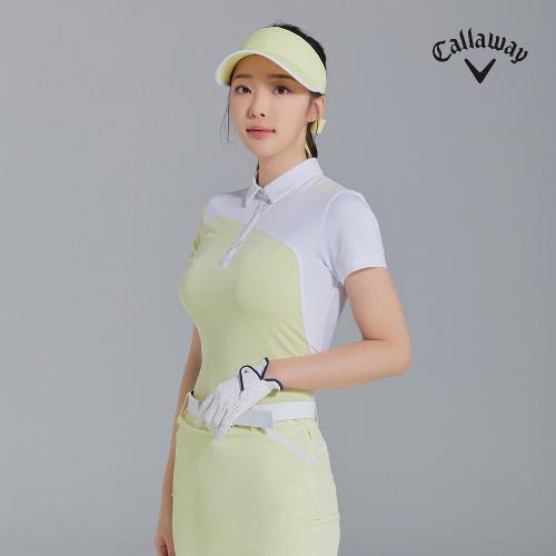 [캘러웨이]21SS 여성 펀칭 배색 카라 반팔 티셔츠 CWTYK6145-203_G