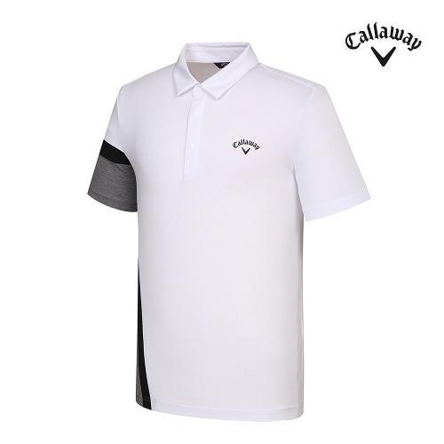 [캘러웨이]기획 남성 컬러블럭 카라 반팔 티셔츠 CMTYJ2443-100_G