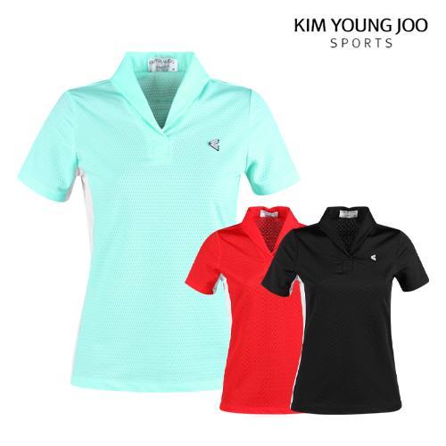 김영주스포츠 여성 메쉬 숄카라 반팔셔츠 LB1M606W