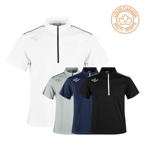 루이스캐나다 남성 반집업 반팔 골프셔츠 LC1M403