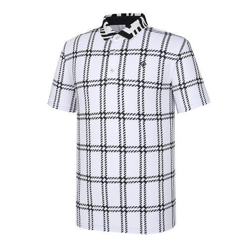 [레노마골프]21SS 남성 체크 카라 반팔 티셔츠 RMTPK2181-101_G