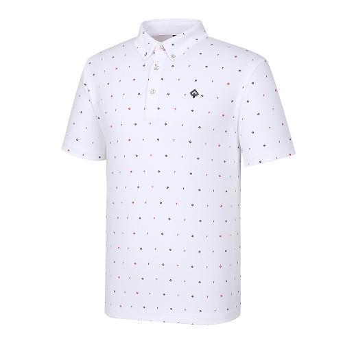 [레노마골프]21SS 남성 로고 패턴 카라 반팔 티셔츠 RMTYK2169-101_G