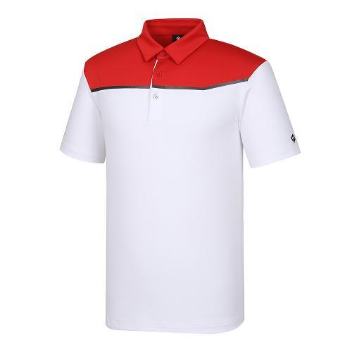 [레노마골프]21SS 남성 상단 컬러블록 카라 반팔 티셔츠 RMTYK2153-500_G