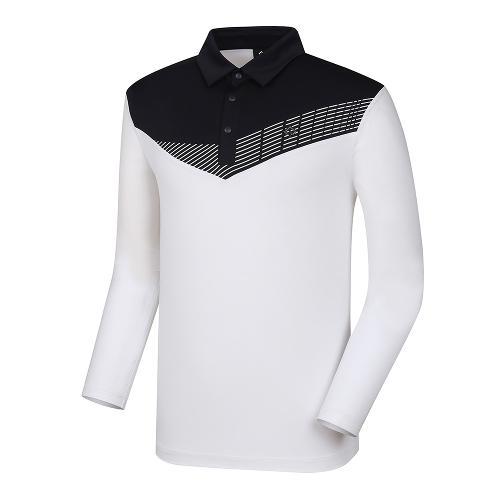 [레노마골프]21SS 남성 배색 냉감소매 카라 티셔츠 RMTYK2103-101_G
