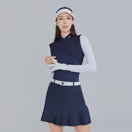 [레노마골프]21SS 여성 배색 반집업 냉감소매 티셔츠 RWTHK6155-925_G