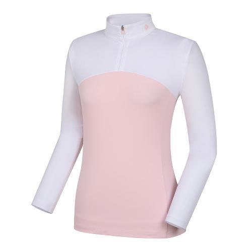 [레노마골프]21SS 여성 배색 반집업 냉감소매 티셔츠 RWTHK6155-411_G