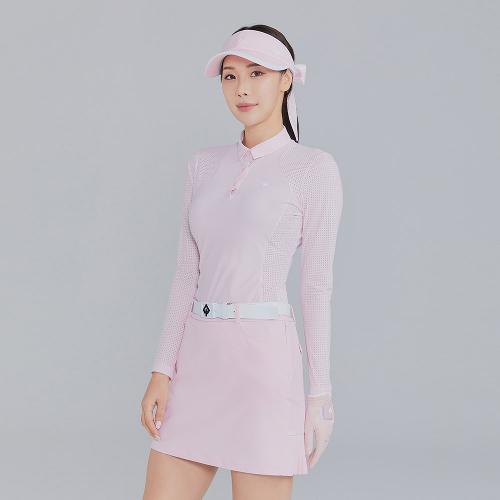 [레노마골프]21SS 여성 펀칭 솔리드 카라 티셔츠 RWTYK6109-403_G