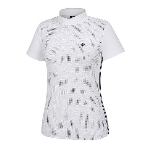 [레노마골프]21SS 여성 패턴 하이넥 반팔 티셔츠 RWTHK6168-101_G