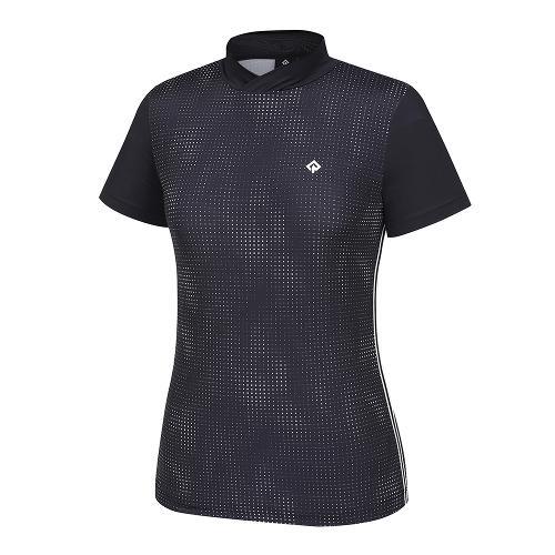 [레노마골프]21SS 여성 패턴 하이넥 반팔 티셔츠 RWTHK6168-199_G