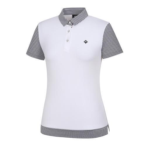 [레노마골프]21SS 여성 패턴 배색 카라 반팔 티셔츠 RWTYK6166-101_G