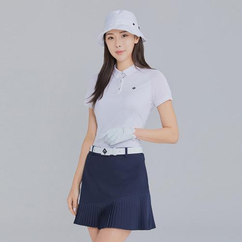 [레노마골프]21SS 여성 소매 펀칭 카라 반팔 티셔츠 RWTYK6160-101_G